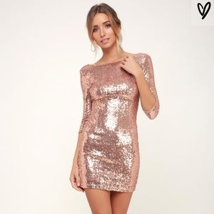 NWT Lulu's Rose Gold Sequin Dress
